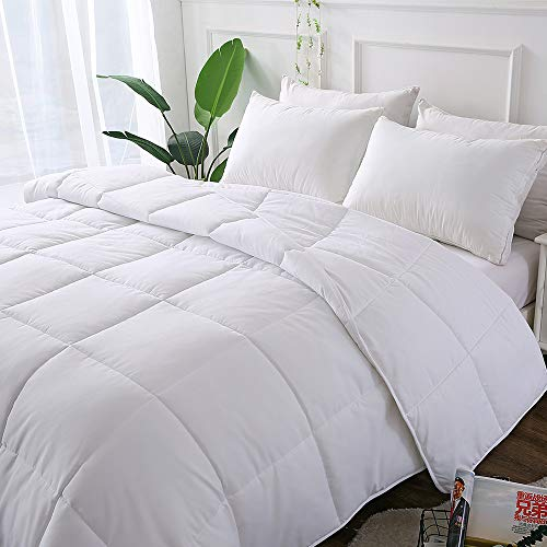 Decroom White Comforter Twin Size,Down Alternative Quilted Duvet Insert,Moisture-Wicking Treament,Light Weight Soft and Hypoallergenic for All Season (Bed Twin Duvet)