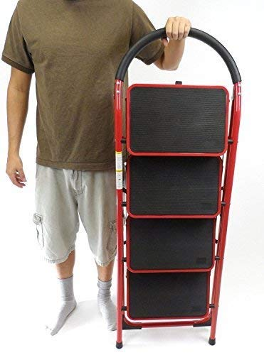 Rv Windshield Ladder Jumbo 4 Step Stool XL Steps Heavy Duty Motorhome Ladder, 4 Steps ()
