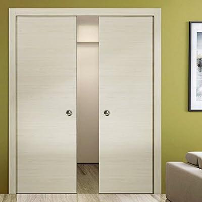 Puertas de armario modernas de doble bolsillo | Planum 0010 Ceniza de leche | Borde de marco de bolsillo para tiradores | Puerta corredera interior de madera maciza |: Amazon.es: Bricolaje y herramientas