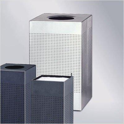 Rubbermaid Commercial Silhouette Designer Wastebasket, Square Open Top, 40-gallon, Silver Metallic (FGSC18ERBSM)