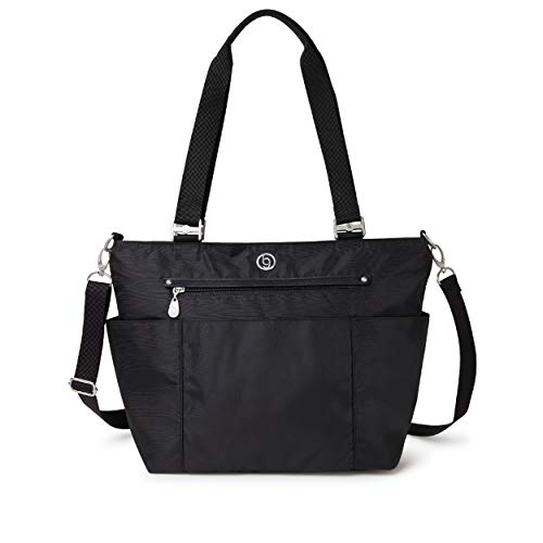 BG by Baggallini Austin Tote - Lightweight, Water Resistant, Carry-On Travel Purse With Zippered Pockets, Adjustable Strap, and Luggage Sleeve, Black
