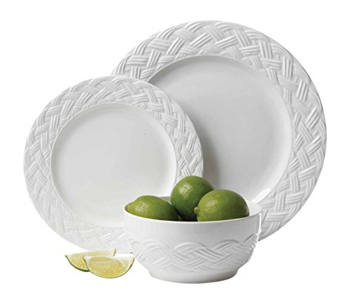 Gibson Home 12 Piece Elm Shire Dinnerware Set, White