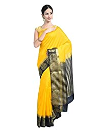 Mirraw Yellow Woven Raw Silk Festive Saree with Unstitched Blouse