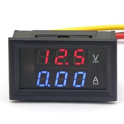 """DROK? Volt Amp Monitor Digital V/A Panel Meter DC 4.5-30V 0-50A Voltage Current Tester Voltmeter/Ammeter Multimeter Ampere Gauge with Current Shunt Three-digit 0.28 """" LED Dual Red/Blue Display"""