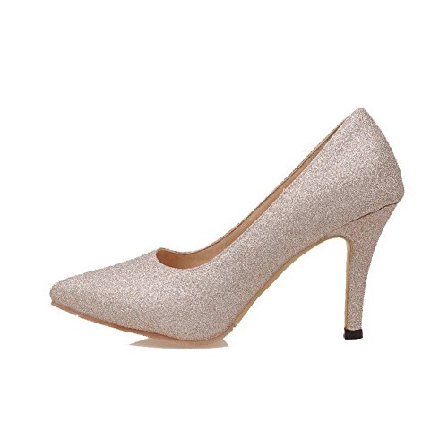 Odomolor Women's Solid Glitter High-Heels Pointed-Toe Pull-On Pumps-Shoes, Gold, 40