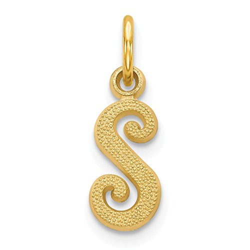 14k Yellow Gold Casted Initialcharm Necklace Pendant Charm Initial Fine Jewelry Gifts For Women For Her ()