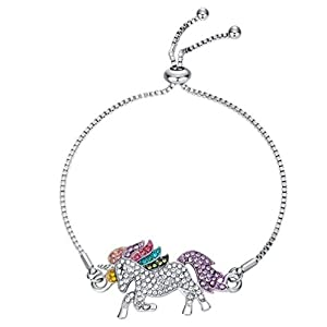 elementact Unicorn Rainbow Bracelet Little Pony Birthday Gifts for Women Girl