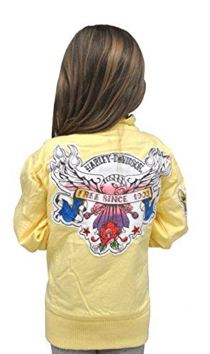 (Harley-Davidson Girls Youth Light Weight Twill Jacket Yellow Kids (3T))