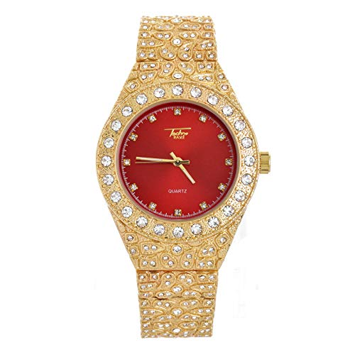 Men's Hip Hop Iced Out Gold Plated Nugget Metal Band Watches WM 8717 GRD