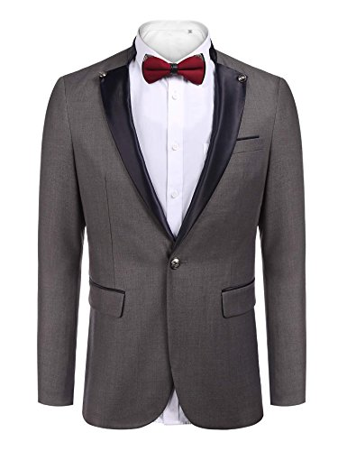 Button Tuxedo Jacket (COOFANDY Men's Slim Fit Dress Suit One Button Tuxedo Blazer Jacket,X-Large,Gray)