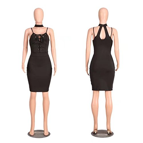 Black Womens Bodycon Backless Up Lace Front Club TM Sleeveless BetterGirl Sexy Dress fUwB4
