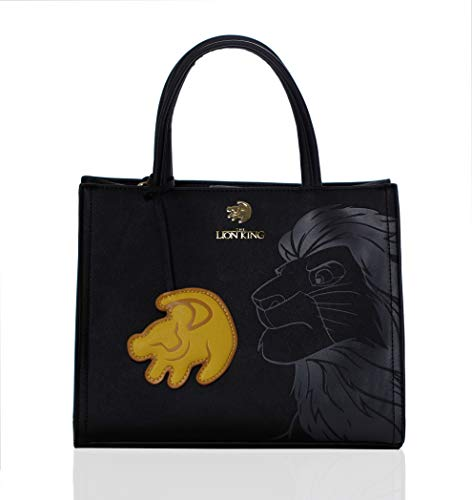 Loungefly x Disney Lion King, Simba Crossbody Tote with Symbol Charm, Embossed Black on Black with Gold Details