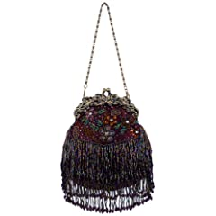 Vintage Flowers Seed Bead Flapper Clutch Evening Handbag