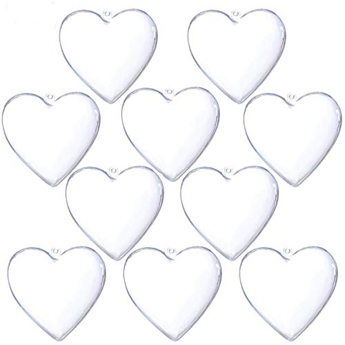 YUYIKES Clear Plastic Fillable Christmas DIY Craft Ball Ornaments 10 pcs 3.94 inch (Heart) -