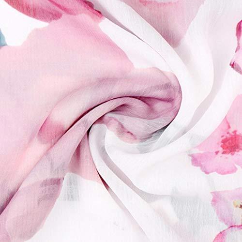 Translucide Chic Haut Manches Chemisier Mousseline Tunique Blanc Femmes Floral Longue Imprim Top Shirt Sexy Chemise Femmes GongzhuMM Blouse Femmes wvgaxXXP
