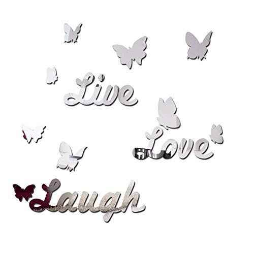 ZeoJard 3D Acrylic Wall Sticker Live Love Laugh Butterfly Mirror DIY Wall -