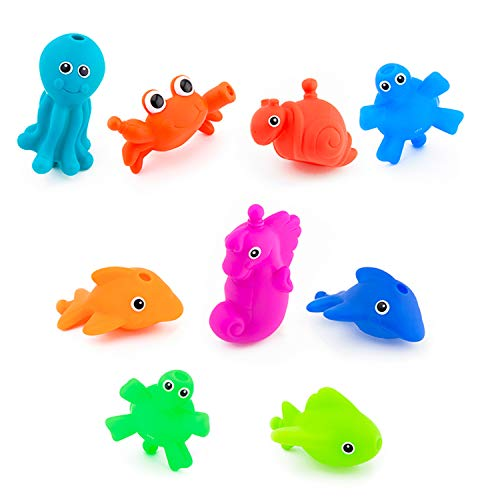 Sassy Snap and Squirt Sea Creatures - 6+ Months Set of 9 Sea Characters Includes Storage Bag with Two Large Suction Cups (Sassy Bath Toys)