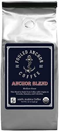 Fouled Anchor, Ground Coffee, Medium Roast, USDA Certified Organic, Fair Trade, Specialty Coffee, Anchor Blend, 12 oz.