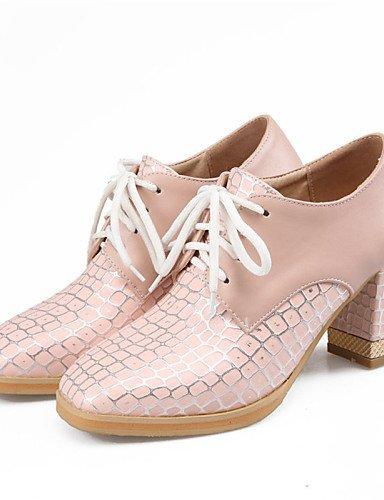 NJX/ hug Damenschuhe - High Heels - Kleid - Kunstleder - Blockabsatz - Absätze / Rundeschuh - Blau / Rosa / Weiß pink-us7.5 / eu38 / uk5.5 / cn38