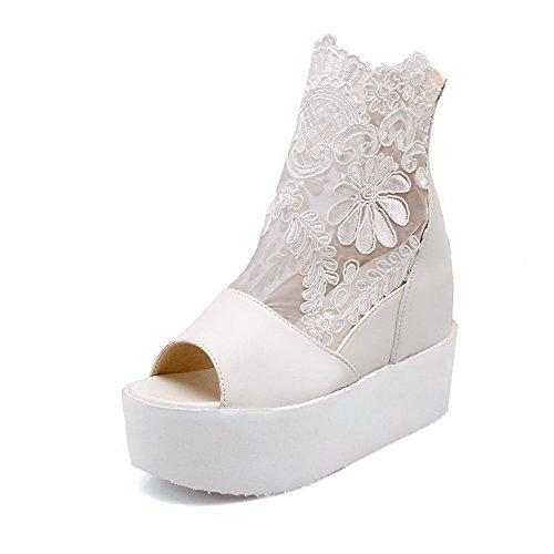 Heels weiches Material Frauen Sandalen Peep Weiß Toe Solid High Reißverschluss AllhqFashion T7Aww