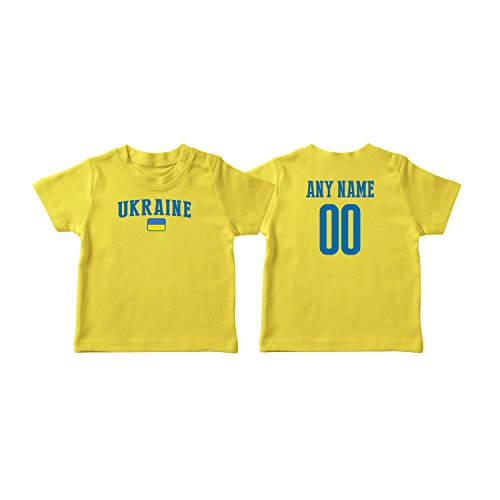 (nobrand Ukraine T-shirt Kids Infant Country Flag Tee Personalized World Cup Pride (Yellow T-shirt 3T))