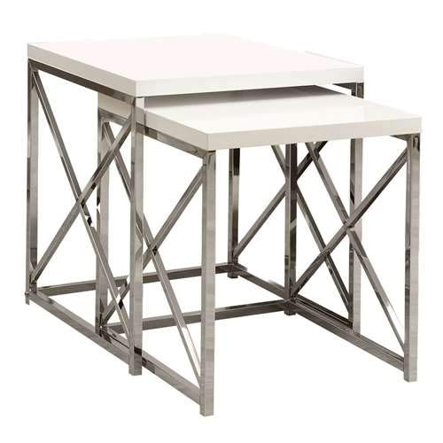 Monarch Specialties I 3025, Nesting Table, Chrome Metal, Glossy White, Table Set, 2 pcs ()
