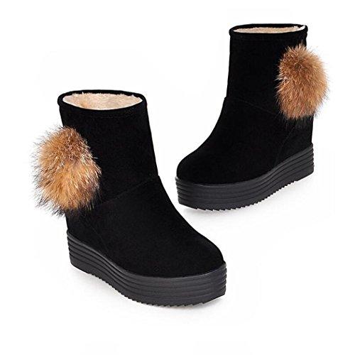 ZQ@QX Cálido invierno cabeza redonda con una base plana espesor aumentado en el salvaje y botas cortas de estudiantes un gran número de mujeres botas black