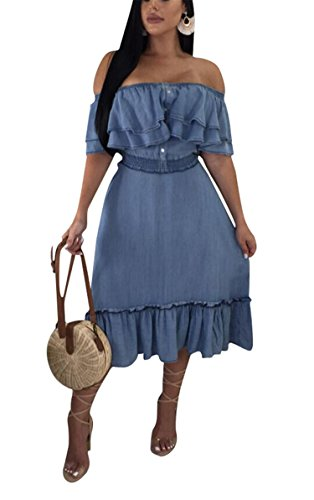 - Womens Girls Summer Street Fashion Off Shoulder Ruffled Floucing Denim Party Club Boho Maxi Long Swing Dress Blue S
