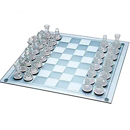 Frosted and Clear Crystal Glass Chess Game Travel kit in 2 Sizes (Small 7.5)