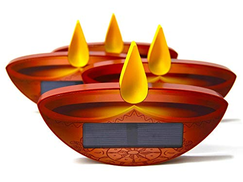 Earth-Friendly Diwali SunCandle, Diyas, Solar Panel Rechargeable Battery Powered Flameless LED Window Lamp, Auto On/Off, for Seasonal & Festival Decorations, Night Light, Yoga Lamp 4-Pack