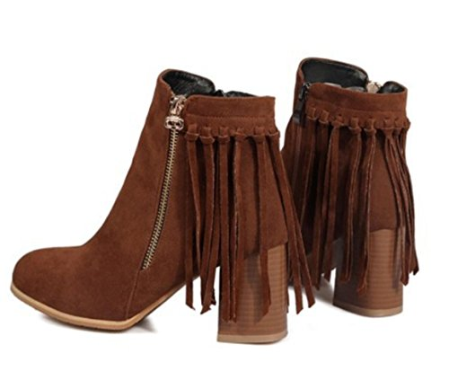 KUKI autumn and winter women boots round lead boots zipper boots cheap boots light casual boots Brown Z4ORjLvay