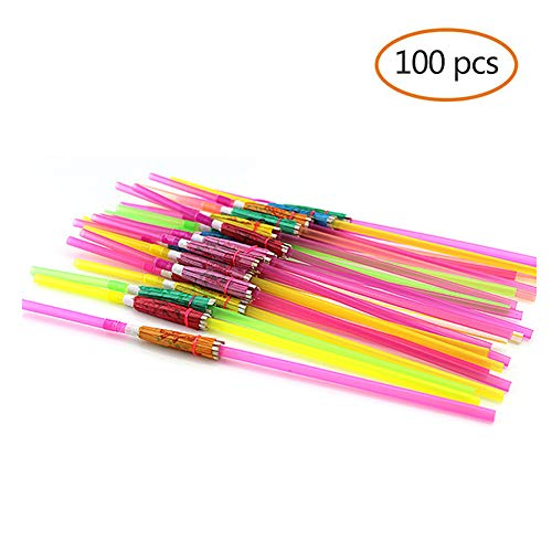 PYD 100pcs Disposable Drinking Straw Funny Umbrella Design Drink Straws for Island Themed Party Bars Restaurants Supplies Birthday Wedding Decorations ()