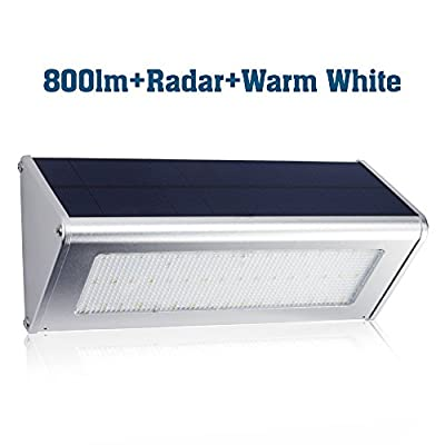 PRISMA Solar Radar LED Lights 800 lm - YES Clean Energy Aluminum Alloy Housing 48 LED Radar Motion Sensor Waterproof Solar Led Light Warm White Patio Light Wall Light Security Light