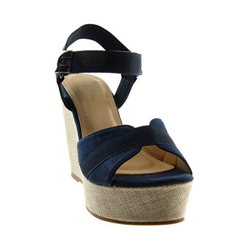 5 marino Hebilla Correa Azul Moda Tobillo Angkorly cm Plataforma de Bimaterial Sandalias Plataforma Zapatillas Mujer 11 Mules O5RwU4vwaq