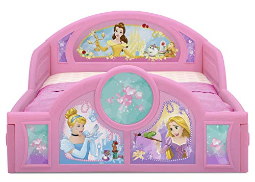 Delta Children Deluxe Character Toddler Bed with Attached guardrails, Featuring Frozen and Princess 2