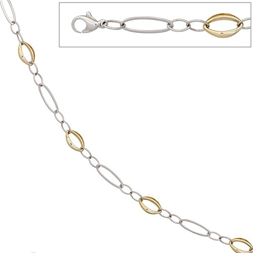 Old 8,7 mm emall supply bracelet en or jaune 585 jaune et blanc pour femme goldarmband 19 cm