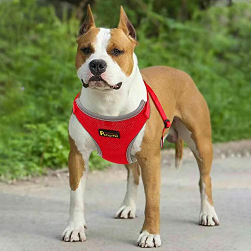 No Pull Step-in Mesh Dog Harness,Reflective Easy Walk Puppy Harness,Neck and Chest Adjustable,M,Red