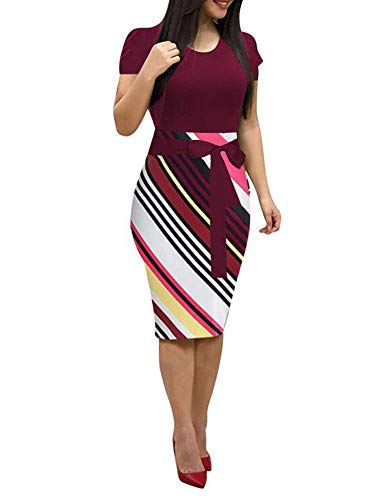 ThusFar Women' Short Sleeve Bodycon Dress -Cute Bowknot Stripes Pencil Dress Medium Wine Red - Cotton Blend Polyester