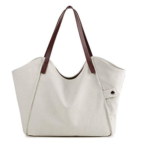Frauen Jahrgang Leinwand Schulter Aktentasche Messenger Handtasche Einkaufen Die Universelle Einsatz Tasche ,White-37cm*3cm*31cm