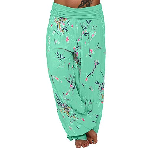Clearance ZEFOTIM Women Plus Size Print Loose Casual Elastic Pants Cropped Full Length Trousers (L,A-Green)