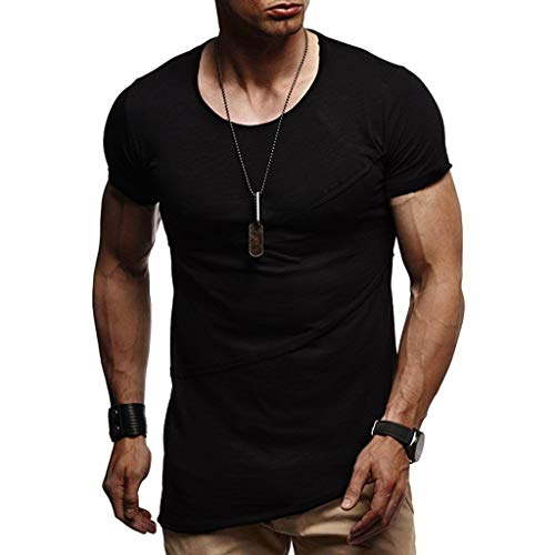 iZZZHH Mens Fashion Summer Patchwork Fitness Short Sleeve O-Neck T-Shirt Top Blouse(Black,XXL)