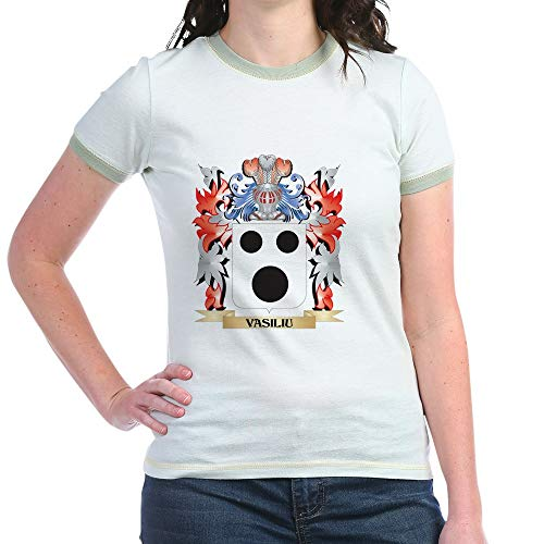 CafePress Vasiliu Coat of Arms Family Crest T Shirt Jr. Ringer T-Shirt, Slim Fit 100% Cotton Ringed Shirt Mint/Avocado
