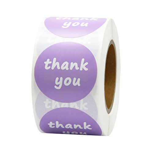Hcode 500 Paper Round Thank You Stickers 1.5 Inch Permanent Adhesive Light Purple Thank You Label (1 roll, Light Purple Thank You)