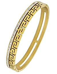 18K Gold Plated 316L Surgical Stainless Steel Cz American Diamond Openable Bangle Cuff Kada Bracelet Men