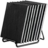 Black Square Slab Slate Coasters - Home, Kitchen Bar, Restaurant Decor Coasters with Stand - 8 Pack