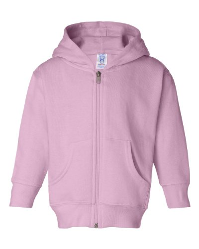 Rabbit Skins Toddler Zip Jersey-Lined Hooded Sweatshirt, Pink, 4T