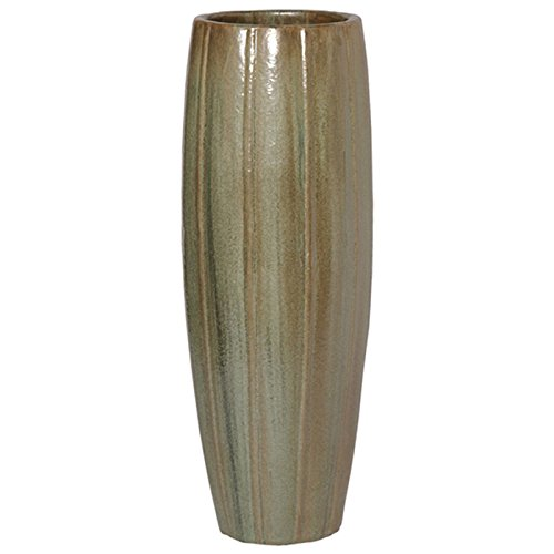 Large Ridged Cylinder Ceramic Planter - Mint Green Metallic