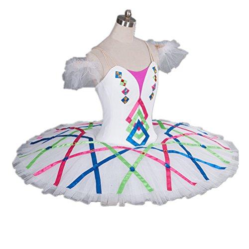 Dance Favourite DBL-1100 Multi Color Professional Ballet Tutu/ Professional Platter/ 10 Layers Skirt/ Arm Bands Included (Platter Tutu Ballet)