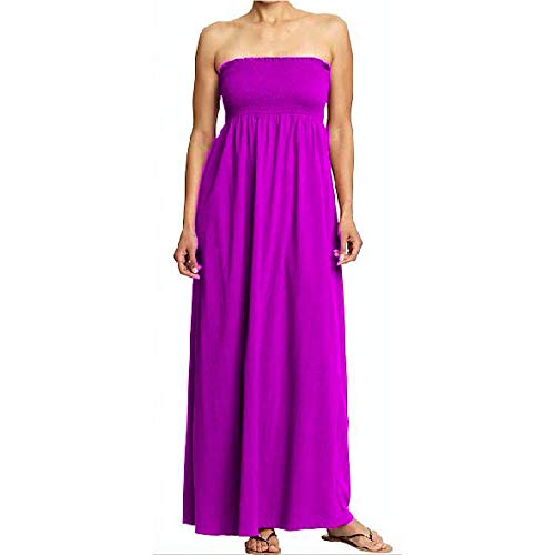 Strapless Smocked Tube Maxi Dress - Women's Plus Size Tube Top Long Skirt Sundress Cover Up - Best Gift Idea (XS, Fuchsia)