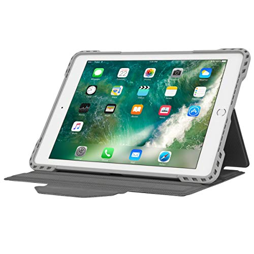 Targus Pro-Tek Apple iPad (6th / 5th gen), iPad Pro (9.7-Inch), iPad Air 2 & iPad Air Rotating Case with Slim Trifold Stand Cover, Stylus Holder, Magnetic Closure, Silver (THZ73711GL)
